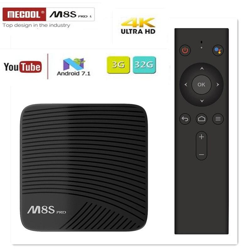 MECOOL M8S PRO L TV BOX Android 7.1 Amlogic S912 3GB 16GB 32G Bluetooth décodeur commande vocale 3D 4K HD lecteur multimédia intelligent