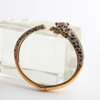 Free shipping copper exquisite fully jewelled simple leopard bangle