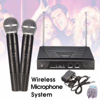 Wireless Microphone And Receiver Set kits Wireless Dual VHF Radio + 2X Handheld DJ Microphone Handheld Mic System Kit