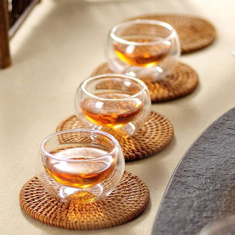 Tea-Set Double-Wall-Glass Transparent Glass Heat-Resistant Insulation 50ML 6pcs Kung-Fu