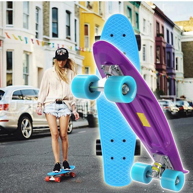 Patineta de 22 pulgadas, patineta de cuatro ruedas, deportes al aire libre para la calle, para adultos o niños, tabla de patinaje larga para niños y niñas