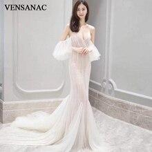 VENSANAC Sexy Deep V Neck Beading Mermaid Wedding Dresses Spaghetti Straps Sequined Sweep Train Backless Bridal Gowns