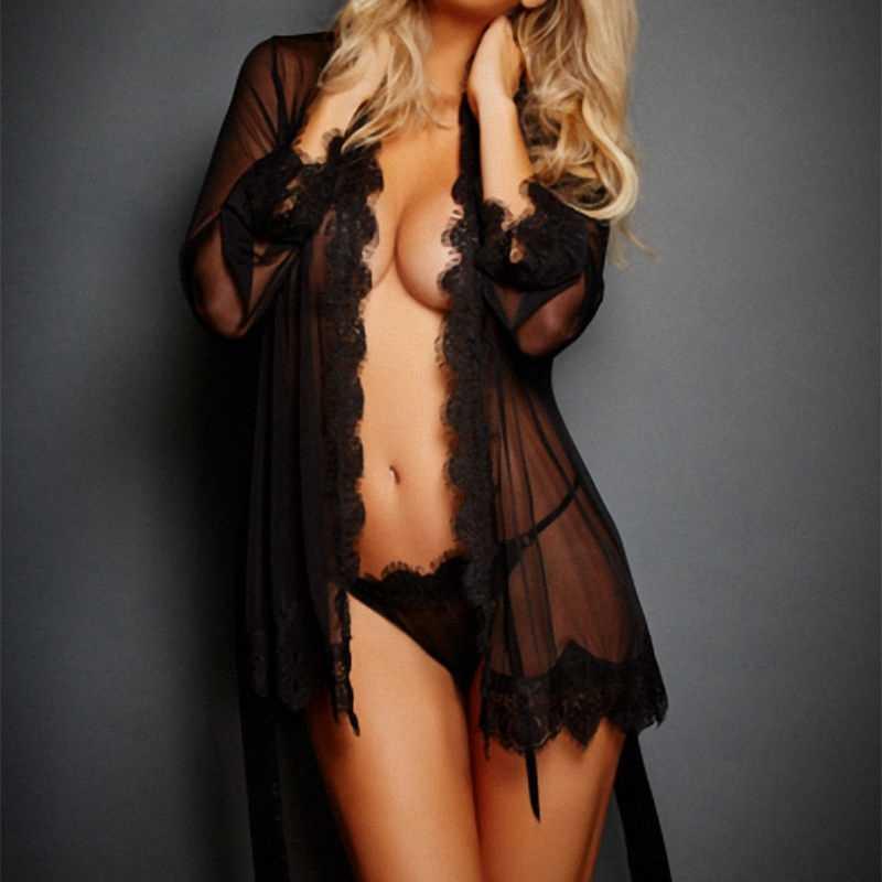 3PCS Women Lace Sleepwear Babydoll Lingerie Nightdress+Robe+G-string Set Soft