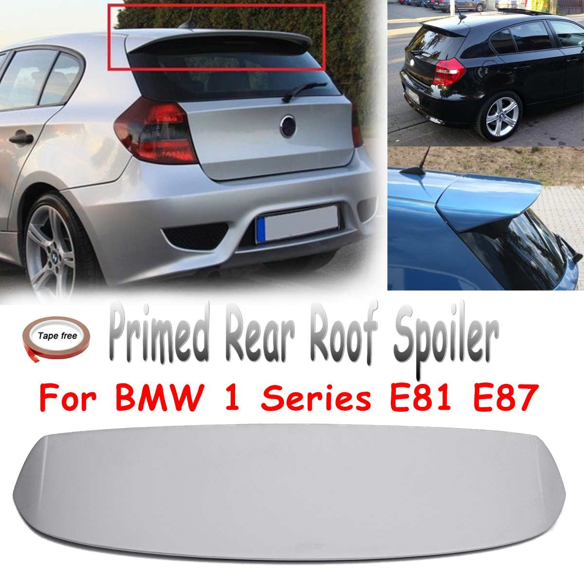 Unpainted Primed Rear Trunk Roof Lip Trunk Spoiler Fiberglass Wing Fits for BMW 1 Series E81 E87 FRP