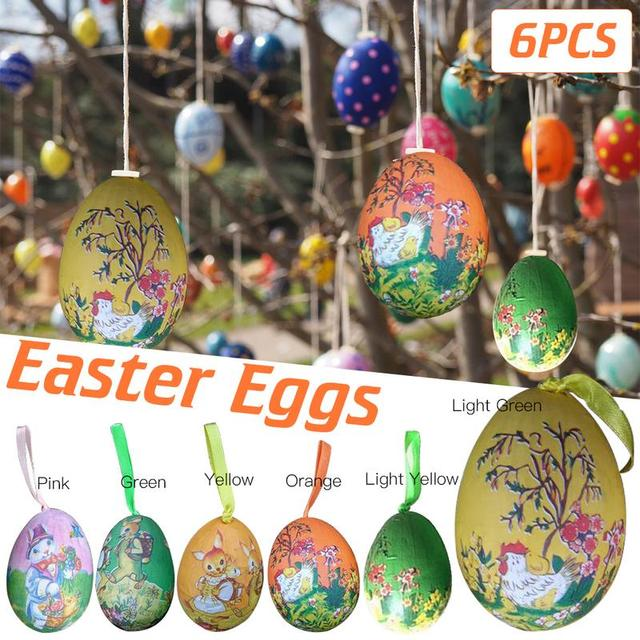 Colorful 6pcs Foam Easter Eggs Hanging Wreaths Crafts Kids Gift