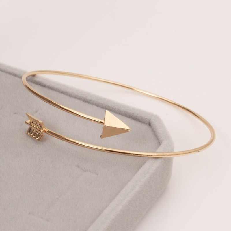 Gothic otwarty regulowany mankietów bransoletki dla kobiet Retro proste strzałka Punk Wrist złota bransoletka z piór modna biżuteria na prezent hurtownie
