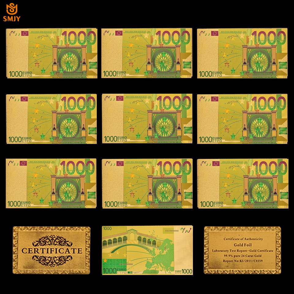 10Pcs/Lot Colored Gold <font><b>Banknotes</b></font> Set <font><b>1000</b></font> <font><b>Euro</b></font> <font><b>Banknotes</b></font> Souvenir Paper Money Collection Gifts image