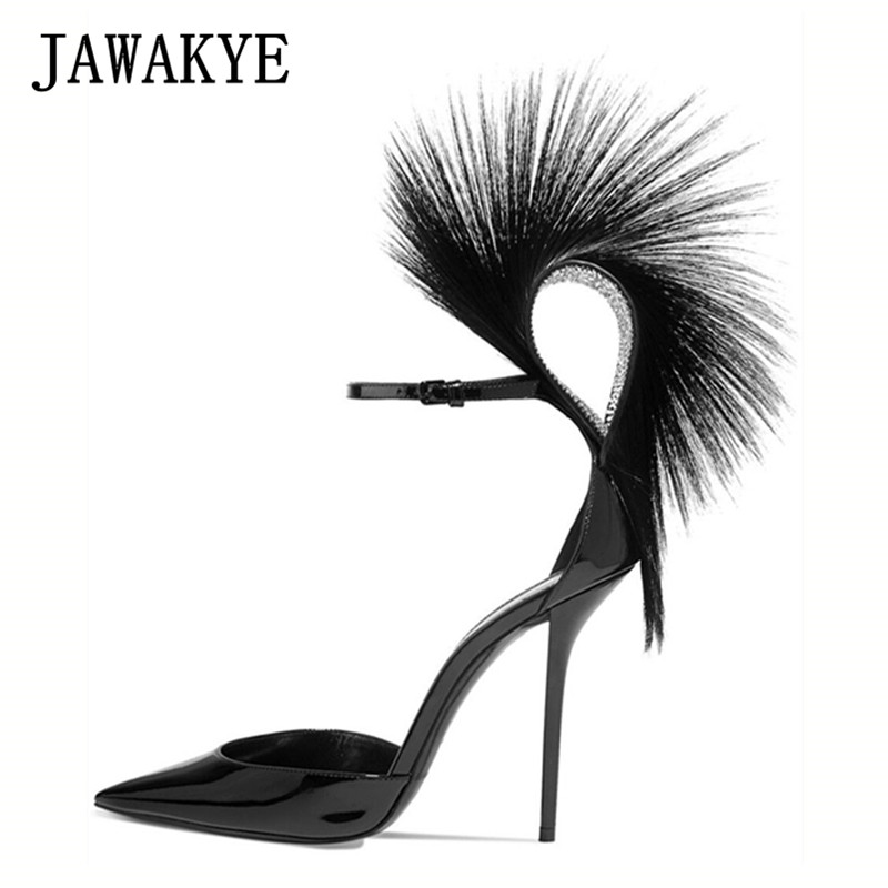 Wedge Hauts D'été Pointu Chaussures Femmes Piste Talons Plate Sandales Clouté forme Designer Cristal Bout Mince Plume 2019 Black Es SIwTI