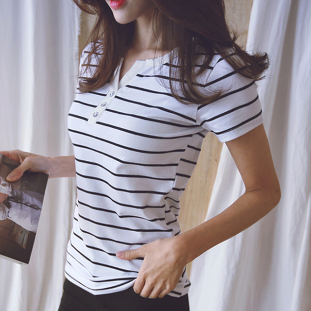 5XL Loose Blouse Shirt Women 2019 Summer Top Shirts V-neck Short Sleeve Casual White Striped Plus Size Cotton Tee Femme #b985