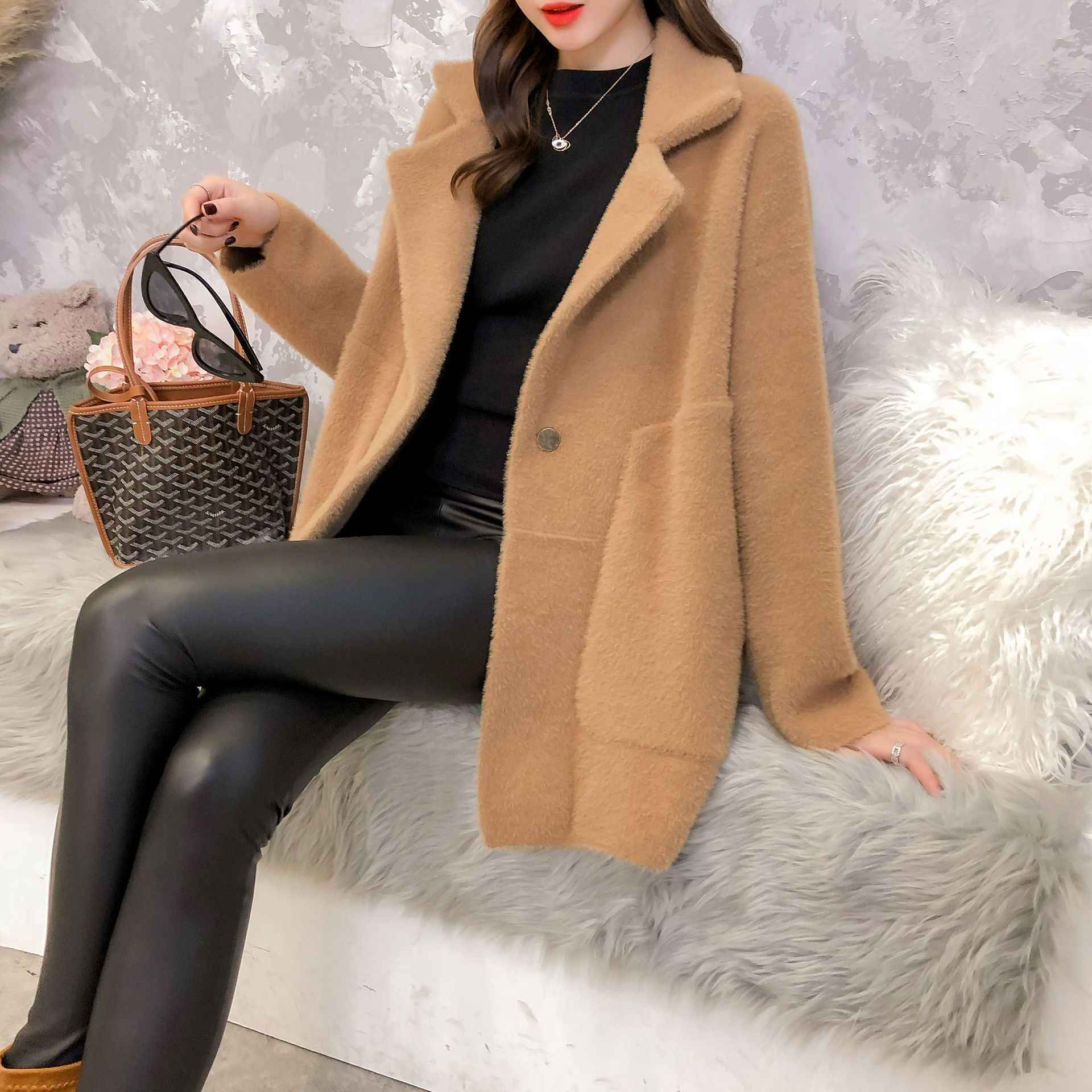 Imitated Mink Fur 2019 Loose Coat New Autumn Winter Knitted Cardigan