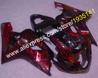 For Suzuki GSXR600 GSXR750 K4 2004 2005 GSX R 600 750 Red Flame Aftermarket Motorcycle Fairing (Injection molding)