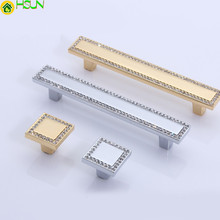 Gold Silver Crystal Dresser Knobs Drawer Handles / Square Glass Cabinet Handle Knob Kitchen Cupboard Hardware
