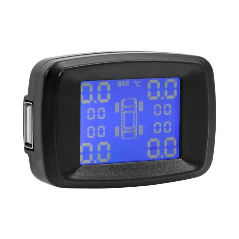 Car Wireless TPMS Tire Pressure Temperature Monitor Safe Protector Cigarette Lighter LCD Digital Display with 4 Sensors