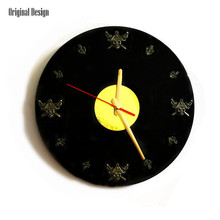 New 3D Wall Clock Retro Vinyl Records With Skull For Living Room Silent Movement Decorative Watch Home Decor