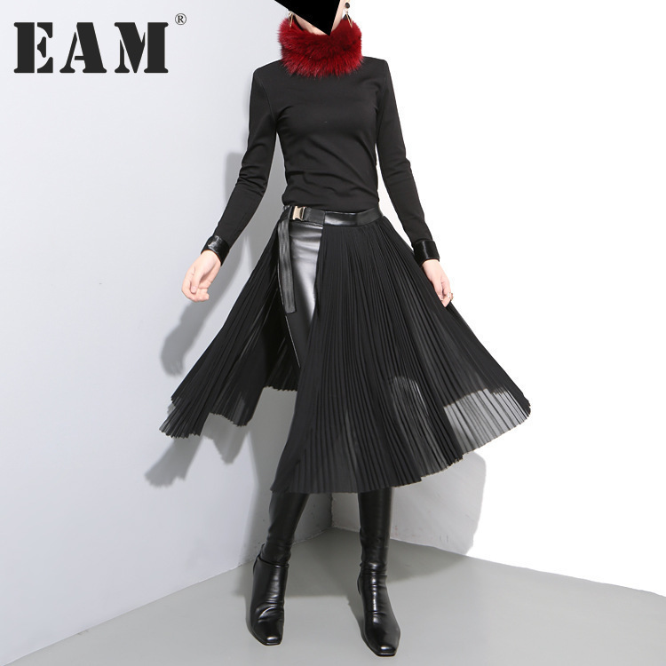 [EAM] 2017 new autumn winter high waist solid color black pleated loose split joint half-body skirt women fashion tide JD10501