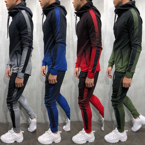 New Men Tracksuit Sets Hoodie Sweatsuit Slim Fit Color Gradient Joggers Gym Suit