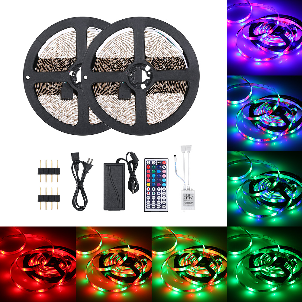 48W LED Strip 10 Meters 600 LED RGB Strip Light With IR 44 Keys Remote Control Cuttable 20 Static Colors Changing/ 6 DIY Modes