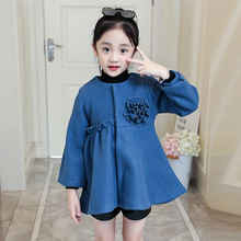 Girls jacket childrens clothing 2019 new autumn winter long-sleeved woolen coat round neck flowers thick