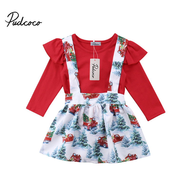 Christmas Newborn Baby Girls Ruffle Romper Bodysuit Overall Bib Skirt Kids Clothes Outfit Costume 2pcs Children Clothing Set