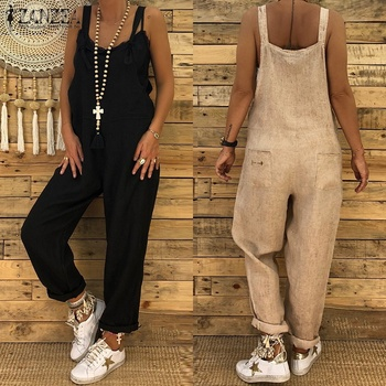 Jumpsuit ZANZEA Plus Size Women Vintage Jumpsuits Casual Loose Cotton Rompers Female Dungarees Harem Pants Overalls Combinaison plus size women in overalls