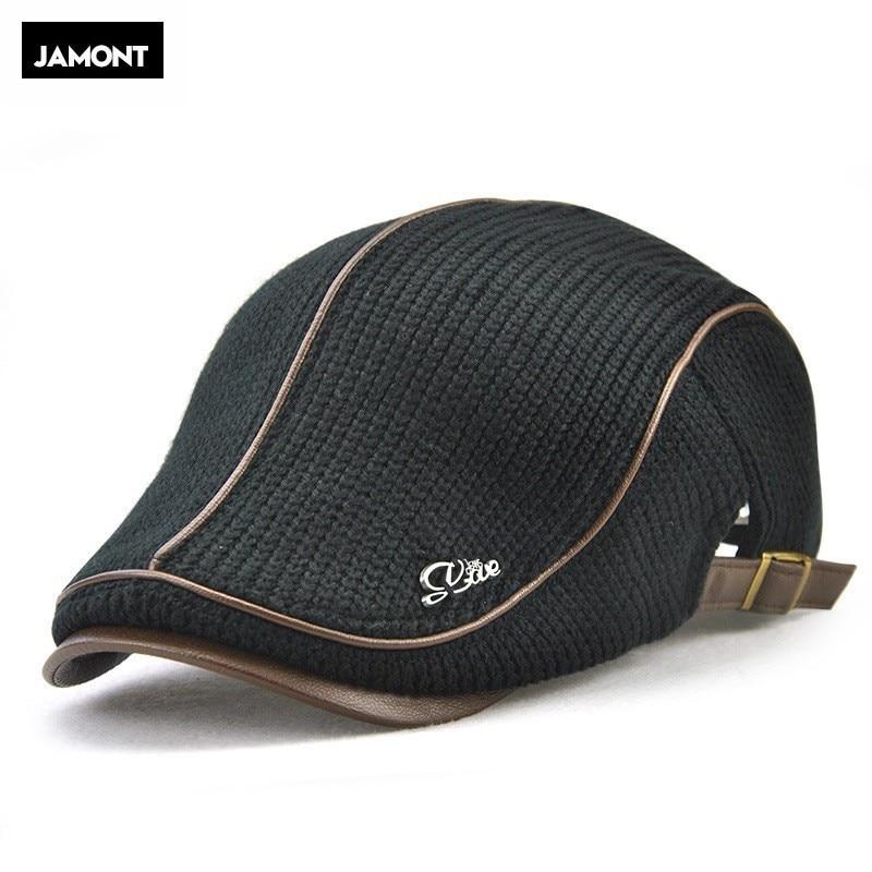 Jamont Knitted Beret Visor-Hat Flat-Cap Brand Men for Boina Hombre Planas Snapback-Hat