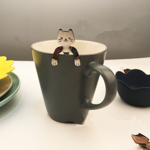 1x Cartoon Cat Coffee Tea Ice Cream Spoon Stainless Steel Cute Handle Hanging Cutlery Outdoor Tableware Camping Picnic Tools