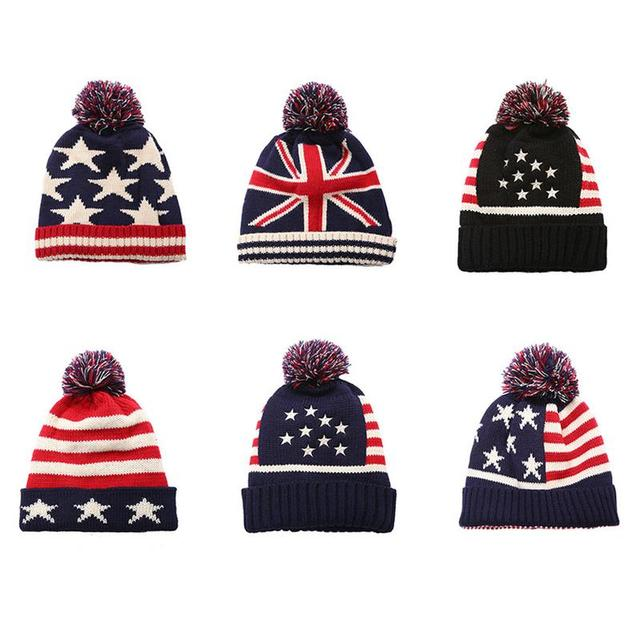 2670d9f59b5 Autumn And Winter New Knitted Hats Men And Women Personalized UK US Flag  Print Warm Knit Wool Hat Winter Top Fur Ball Caps Hat