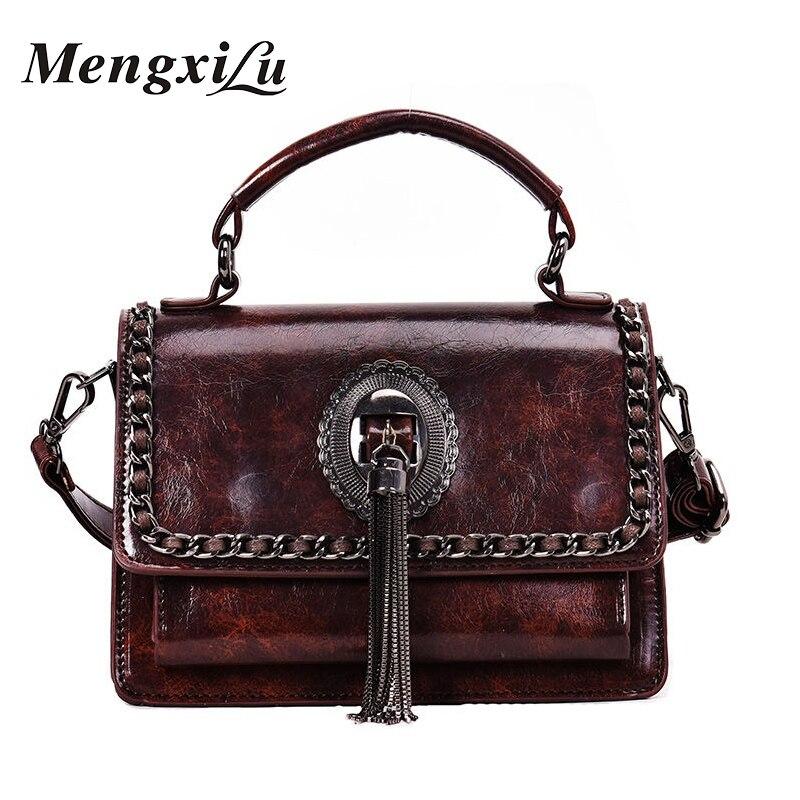 New Vintage Crossbody Bag for Women Tassel Fashion Small Flap Handbags Leather Chain Shoulder Bag Female Sac A Main High Quality