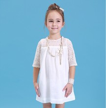 Kids clothes girls dress 2019 summer new lace baby cotton Short sleeve white childrens clothing