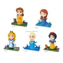 hot LegoINGlys creators Fairy Tales princess micro diamond building blocks mermaid Snow White Cinderella model bricks toys gift