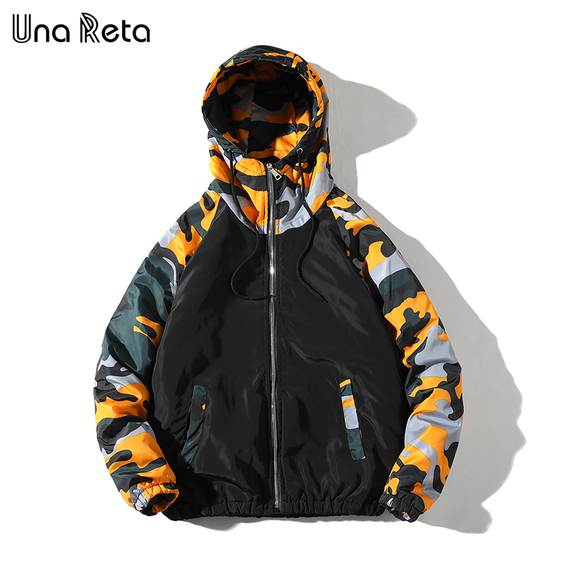 Una Reta Jacket Coats Men New Casual Hooded Jackets Mens Hip hop Camouflage stitching   Parka   coat Fashion Loose Coat Man