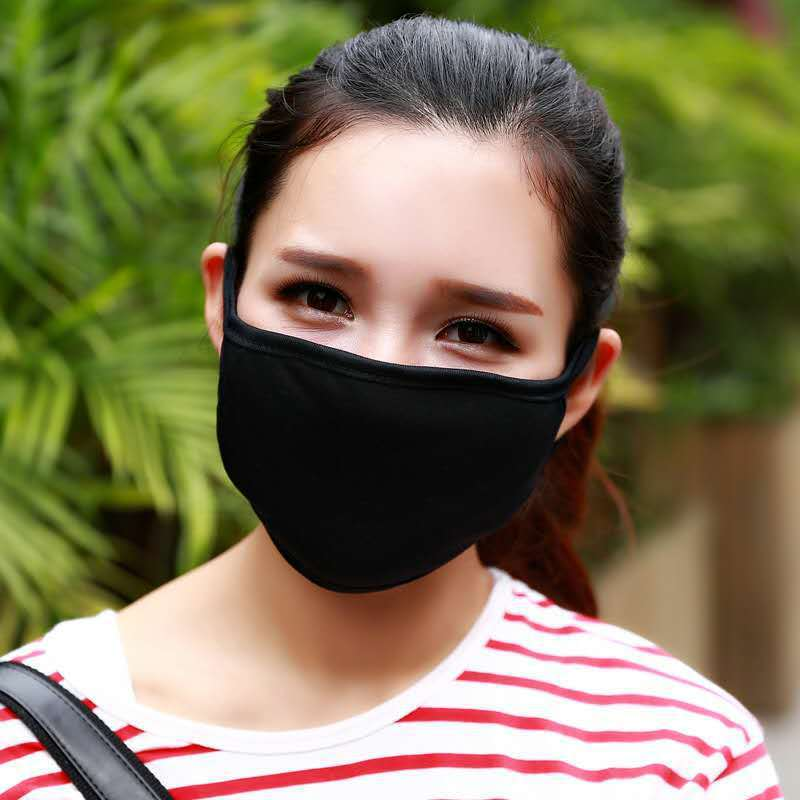 2PC Cotton Dustproof Mouth Face Mask Unisex Korean Style Kpop Black Bear Cycling Anti-Dust Cotton Facial Protective Cover Masks