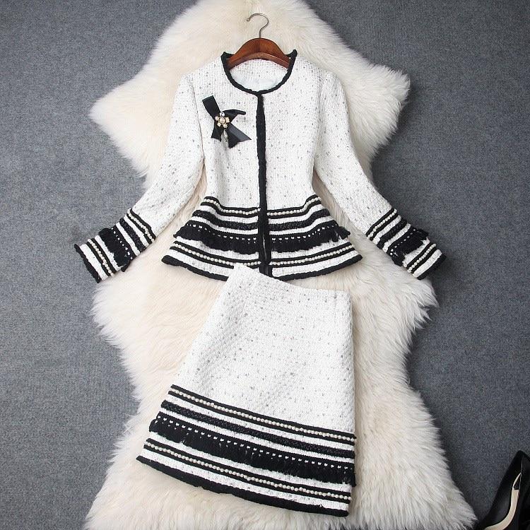 Nappe In Arco Delle Donne 2019 Di Rilievo Mini Tweed Giacca Nero Autunno Nuovo Set Office Spessore Modo Con Due Bianco Inverno Vestito Gonna il Lady Pezzi OXI0z