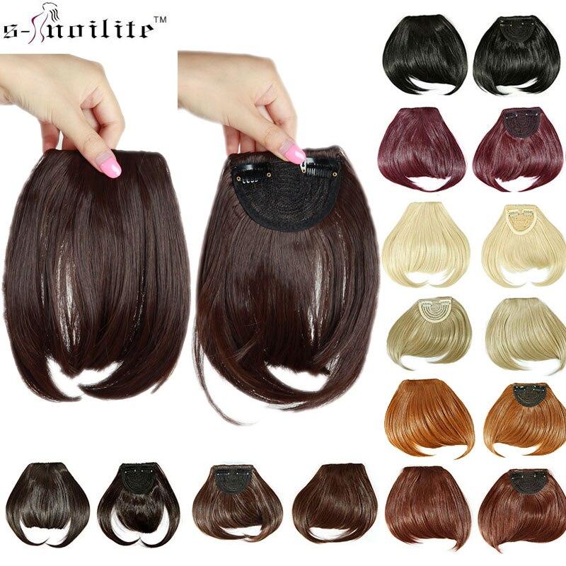 SNOILITE 8 court avant soigné frange Clip dans bang frange extensions de cheveux droite synthétique naturel cheveux extension frange