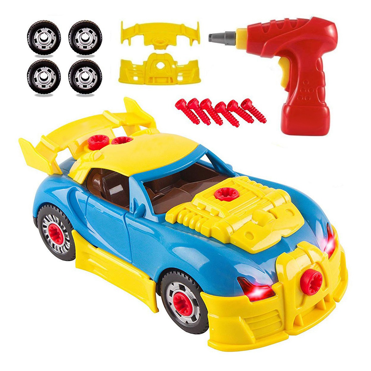 30Pcs Children'S Diy Racing Toy Electric Drill Disassembly Toy Car Assembly Disassembly Toy Children'S Hands-On Screw Car Puzzle