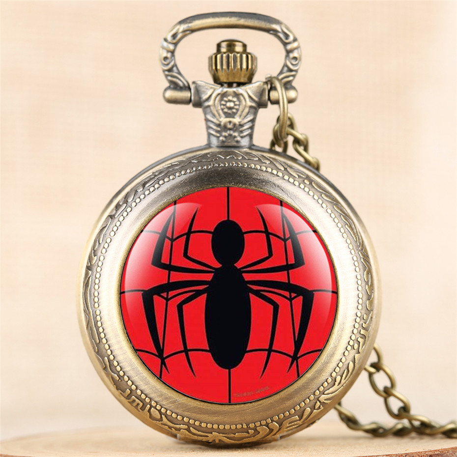 Exquisite Spider Quartz Pocket Watch Retro Pendant Clock With Fob Necklace Chain Best Birthday Gifts For Boys Girls