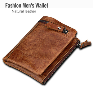 Image 3 - ATAXZOME Genuine Leather Wallet Mens Short Coin Purse Vintage Brand Anti magnetic RFID Wallets Natural Cowhide Mens Gift W3580
