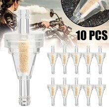 """Универсальный 10 шт мотоциклетный встроенный газовый топливный фильтр 1/"""" 6,3 мм топливная Линия нейлон и бронзовый элемент для Dirt Bike ATV UTV"""
