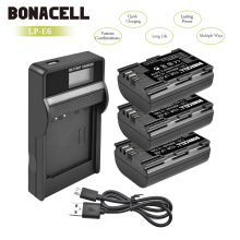 Bonacell 2600mAh LP-E6 Digital Camera Battery+LCD Charger For Canon EOS 5D Mark II 2 III 3 6D 7D 60D 60Da 70D 80D DSLR EOS L50 цена 2017