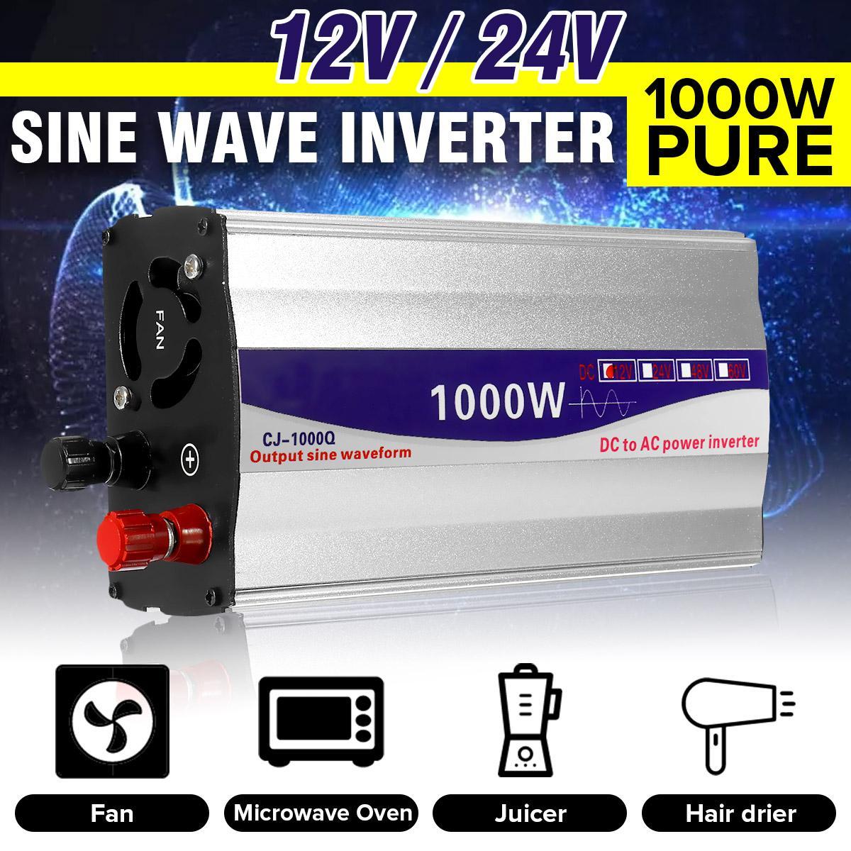 Inverter 12V/ 24V To 220V Pure Sine Wave Inverter LED Display Converter Transformer Peaks Power 1000W For Car Home