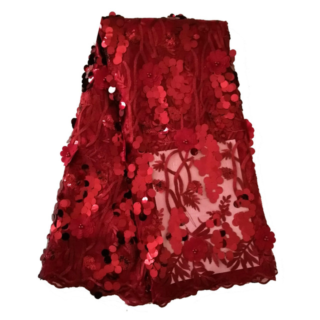 Latest french sequins lace fabric 2019 high quality lace wine burgundy 3d aso ebi wedding lace fabric for sewing dresses