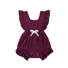 Newborn Baby Girls Ruche Plain Colour Terugkruisen Romper Jumpsuit Outfits Sunsu