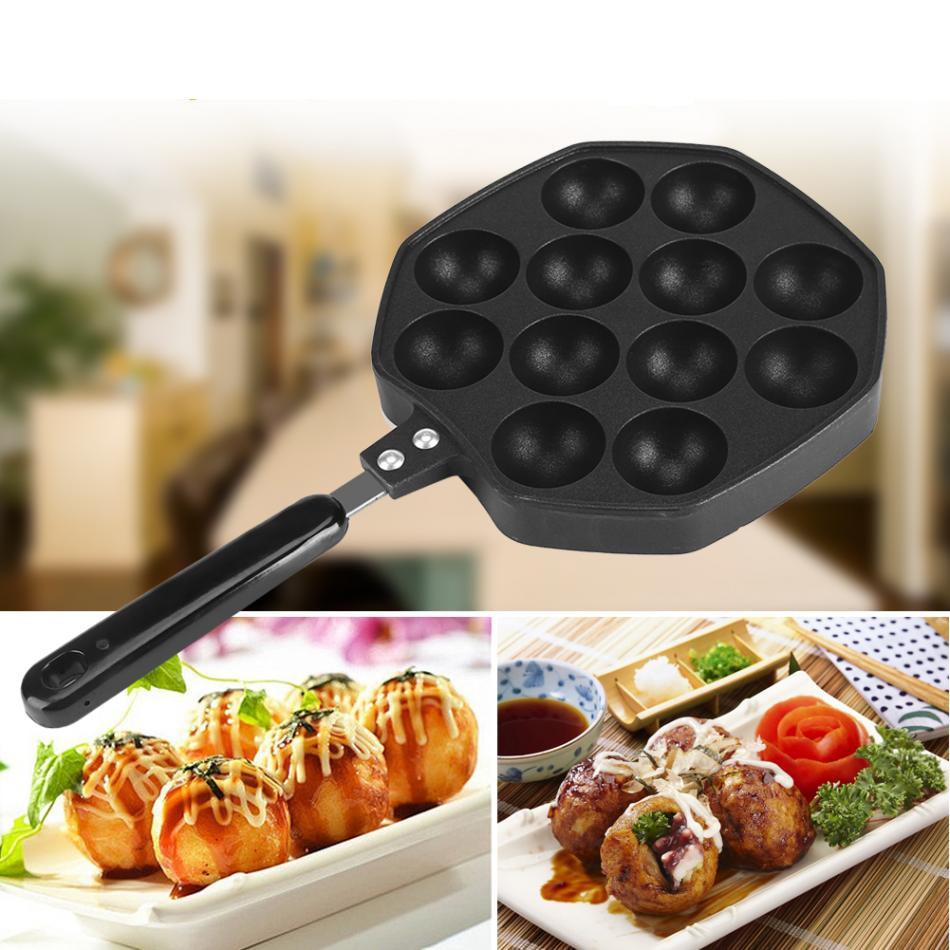 12 Cavities Aluminum Non-stick Octopus Takoyaki Grill Pan Plate DIY Octopus Pancake Mold Home Cooking Baking Kitchen Accessories