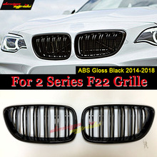 F22 Double Slat Front Grille ABS Material Gloss Black For 2-Series 220i 228i 230i Kidney Auto Car styling 2014+