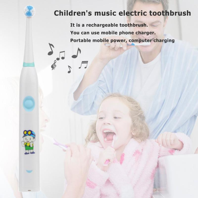 Ultrasonic Electric Toothbrush Rechargeable Tooth Brush Kids Waterproof Oral Hygiene Dental Cleaning Music Toothbrush for Child image