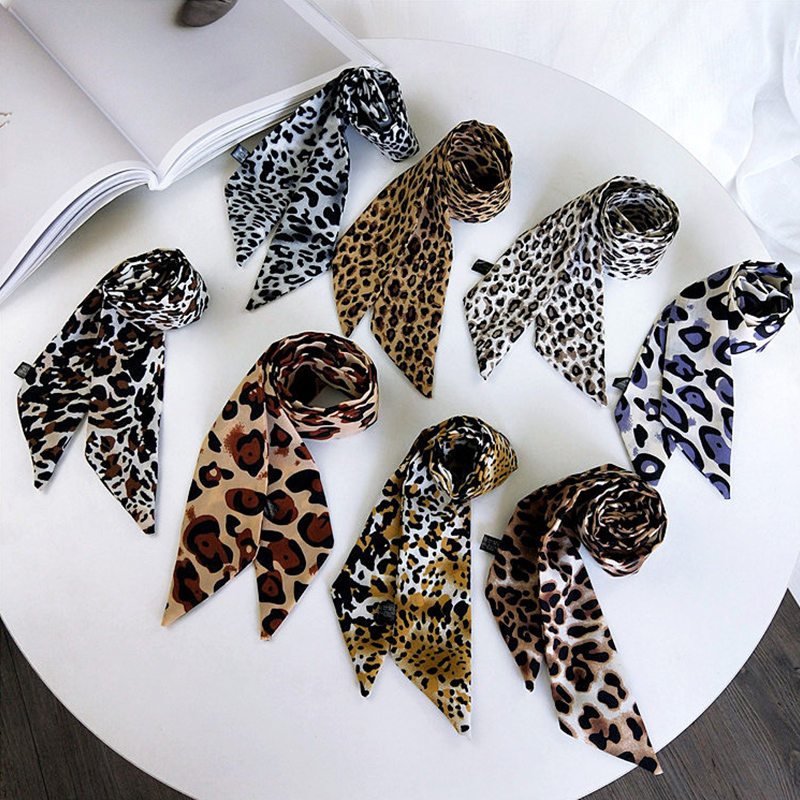 Hot 1PC Square Scarf Leopard Hair Tie Band For Women Elegant Business Print Neck Silk Satin Female Scarf
