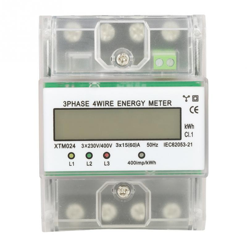 Digital 3-phase 4 Wire DIN-Rail Electric Meter Electronic KWh Meter with Transparent Cover Din Rail high stability Energy Meter mk lem021ag 3 phase 4 wire energy meter connection three phase energy meter test bench digital energy meter