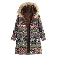 Зимние женские пальто женская зимняя теплая верхняя одежда в стиле ретро с геометрическим принтом с капюшоном карманы Винтаж пальто оверса...