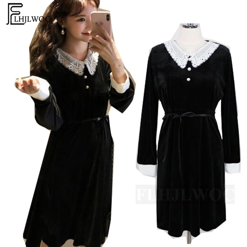 Little Black Dress 2019 Design Women Fashion Long Sleeve Casual Cute Sweet Girls White Lace Patchwork Vintage Basic Midi Dress Платье