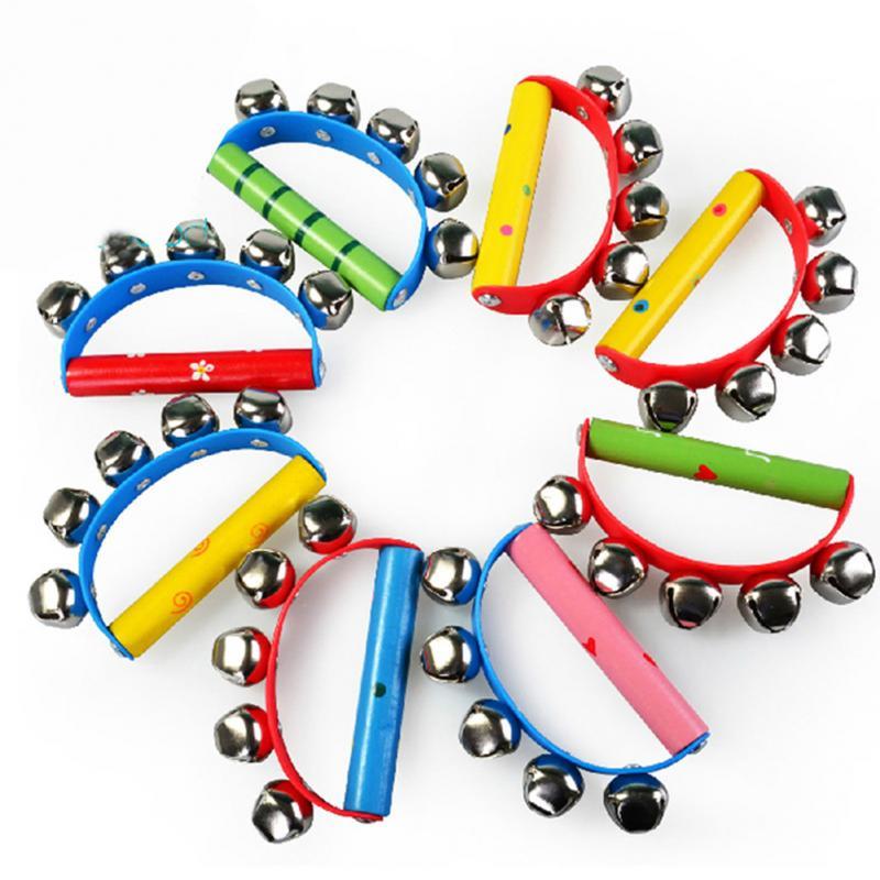 1PC Wood Handbell Jingle Toy Handbell Shaking Baby Intelligent Tambourine Rhythm Educational Handbell Random Color #15
